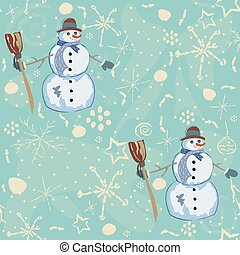 Seamless pattern with snowman on blue background