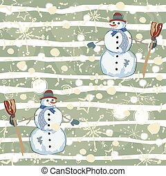 Seamless Pattern with snowman on green background