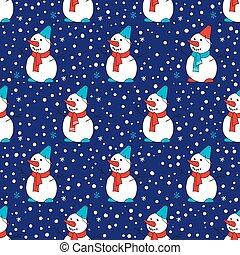 Seamless pattern with snowmen. Dark blue background with snow.