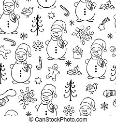 Seamless pattern with snowmen