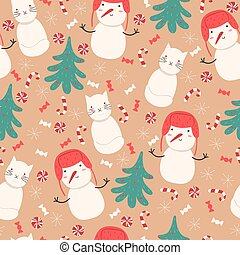 Seamless pattern with snowmen, snow cats, Christmas trees and sweets. Vector graphics.