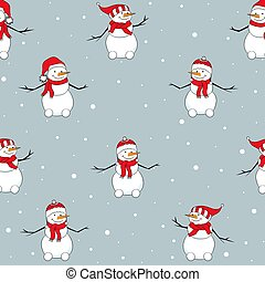 Seamless pattern with snowmen with red hat. Christmas background.