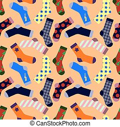 Seamless pattern with Socks isolated on background. Flat...