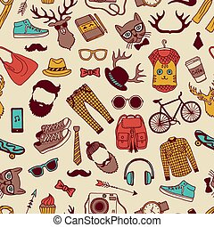 Seamless pattern with specific elements of hipster style. Hand drawn pictures