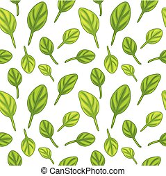 Seamless pattern with spinach leaves. Vector illustration