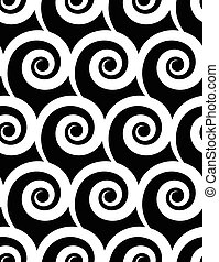 Seamless pattern with spiral. Monochrome repeatable pattern.