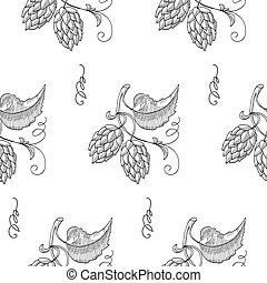 Seamless Pattern With Sprig Of Hops