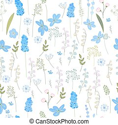 Seamless pattern with spring blue flowers. Easter endless texture