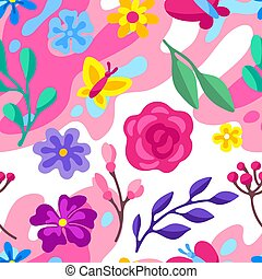 Seamless pattern with spring flowers. Beautiful decorative natural plants.