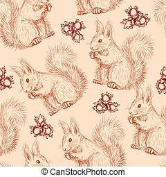 Seamless pattern with squirrels and nuts - Seamless pattern...