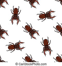 Seamless pattern with stag-beetle. Lucanus cervus. hand-drawn . Vector