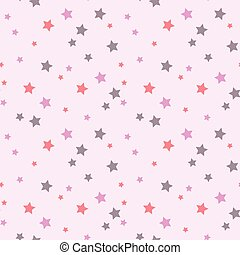 Seamless pattern with star on pink background.