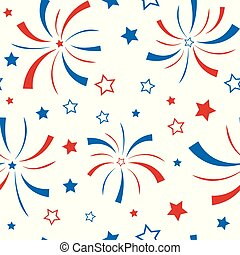 Seamless pattern with stars and firework.