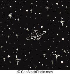 Seamless Pattern with Stars. Cosmic Background.
