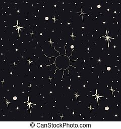 Seamless Pattern with Stars. Cosmic Background. Vector Illustration
