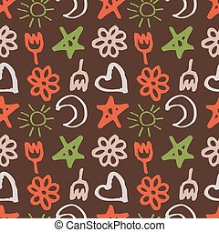 seamless pattern with stars, hearts, sun, moon, flowers in the style of children