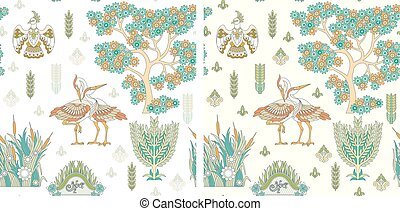 Seamless Pattern with stork birds - Seamless Pattern with...