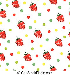 seamless pattern with strawberries and polka dots