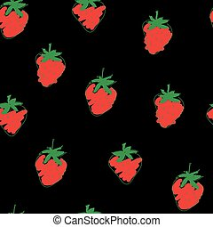 Seamless pattern with strawberries on a black background