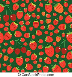 Seamless pattern with strawberries on green background. Vector
