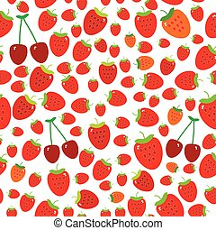 Seamless pattern with strawberries on the white background. Vector