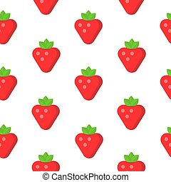 Seamless pattern with strawberry in flat style. Vector illustration.