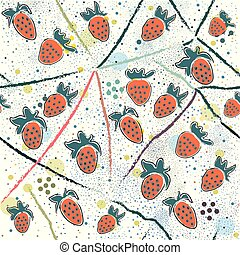 Seamless Pattern with Strawberry. Scandinavian Style. Unique Design