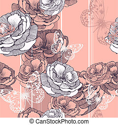 Seamless pattern with striped background, roses and butterflies. Vector illustration.