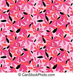 Seamless pattern with stylish flowers on a pink background