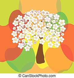 Seamless pattern with stylized blossoming apple tree on colorful background with sketching apples