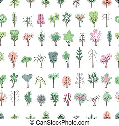 Seamless pattern with stylized blossoming trees