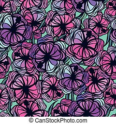 Seamless pattern with stylized colored tropical flowers