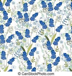Seamless pattern with stylized cute blue muscari. Endless ...