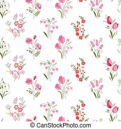 Seamless pattern with stylized cute flowers - roses, tulips and snowdrops