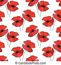 Seamless pattern with stylized cute red poppy