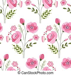Seamless pattern with stylized cute red roses