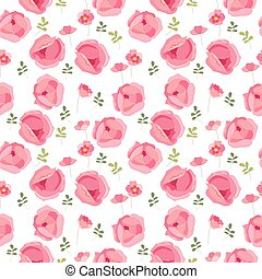 Seamless pattern with stylized cute red roses. Endless texture for your design, greeting cards, announcements, posters.