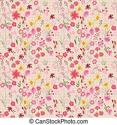 Seamless pattern with stylized cute flowers