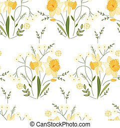 Seamless pattern with stylized cute yellow daffodils