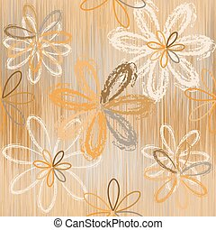 Seamless pattern with stylized flowers on grunge striped background in beige, brown, white colors