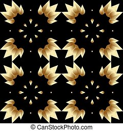 seamless pattern with stylized gradient gold leaves on a black background
