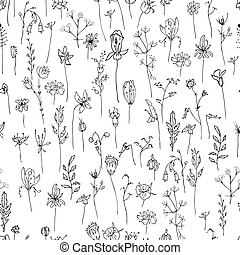 Seamless pattern with stylized herbs and plants. Black and ...