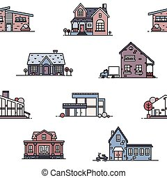 Seamless pattern with suburban houses on white background....