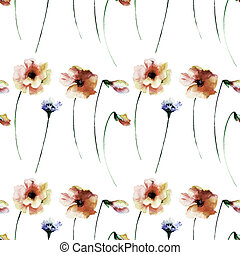 Seamless pattern with summer watercolor flowers