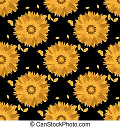 Seamless pattern with sunflowers. Abstract floral background.