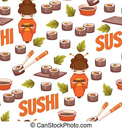 Seamless pattern with sushi. Vector background