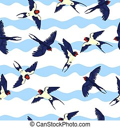 Seamless pattern with swallows on a wavy background. Vector graphics.