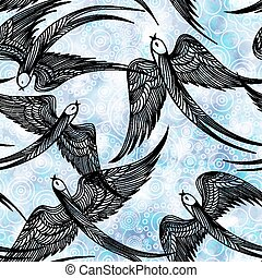 Seamless pattern with swallows. Vector, EPS 10