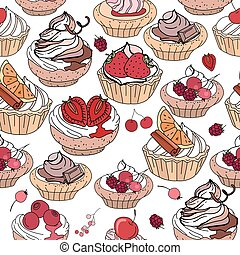 Seamless pattern with sweet desserts