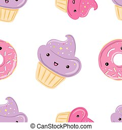 Seamless pattern with sweets - donuts, cupcakes isolated on...